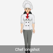 2 D female Avatar standing chef