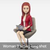 female avatar sitting
